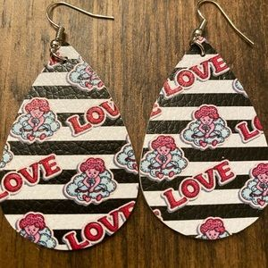 Valentine's Day faux leather earrings